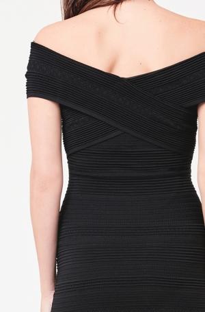 POINTELLE KNIT DRESS BLACK