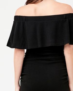 SOIREE OFF SHOULDER DRESS BLACK