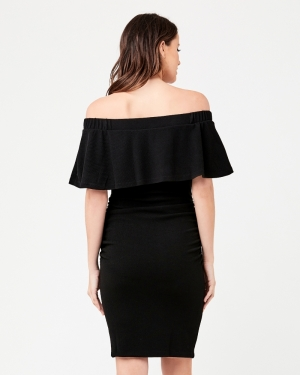 SOIREE OFF SHOULDER DRESS BLACK