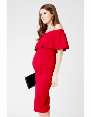 SOIREE OFF SHOULDER DRESS IRON RED