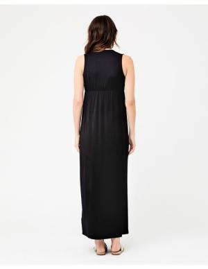 VIRTUE NURSING MAXI DRESS BLACK