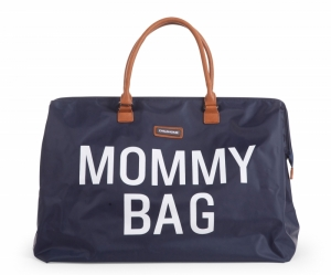 MOMMY BAG BLAUW-WIT logo