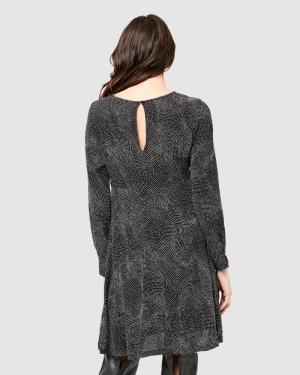PIP SPOT WOVEN DRESS BLACK/WHITE