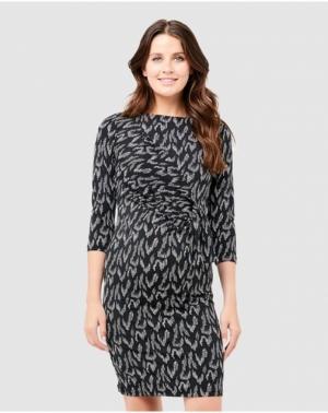 SPENCER SIDE TIE DRESS BLACK/WHITE
