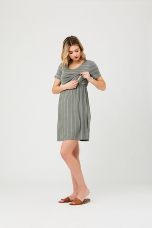 CROP TOP NURSING DRESS OLIVE/WHITE