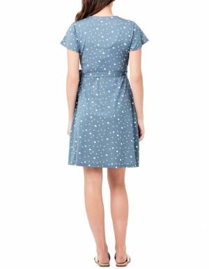 LIV WRAP DRESS PETROL/WHITE
