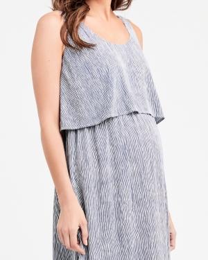 STELLA STRIPE NURSING DRESS INDIGO/WHITE