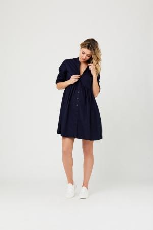 PAIGE POPLIN DRESS NAVY