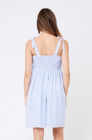 SALLY TIE FRONT NURSING DRESS SKY BLUE/WHITE