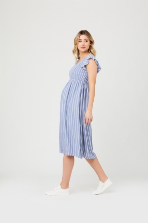 SOFIE SHIRRED DRESS BLUE/WHITE