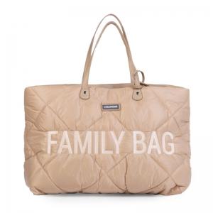 FAMILY BAG GEWATTEERD BEIGE logo