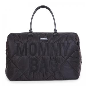 MOMMY BAG GEWATTEERD ZWART logo